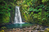 Salto do Prego waterfall lost in the rainforest, Sao Miguel Island, Azores, Portugal