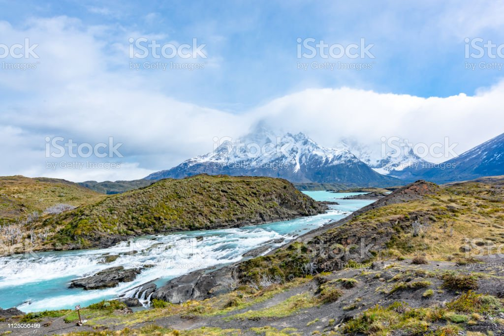 Salto Grande Waterfall View of Hosteria Pehoe at Parque Nacional Torres del Paine - Torres del Paine National Park, Chile stock photo