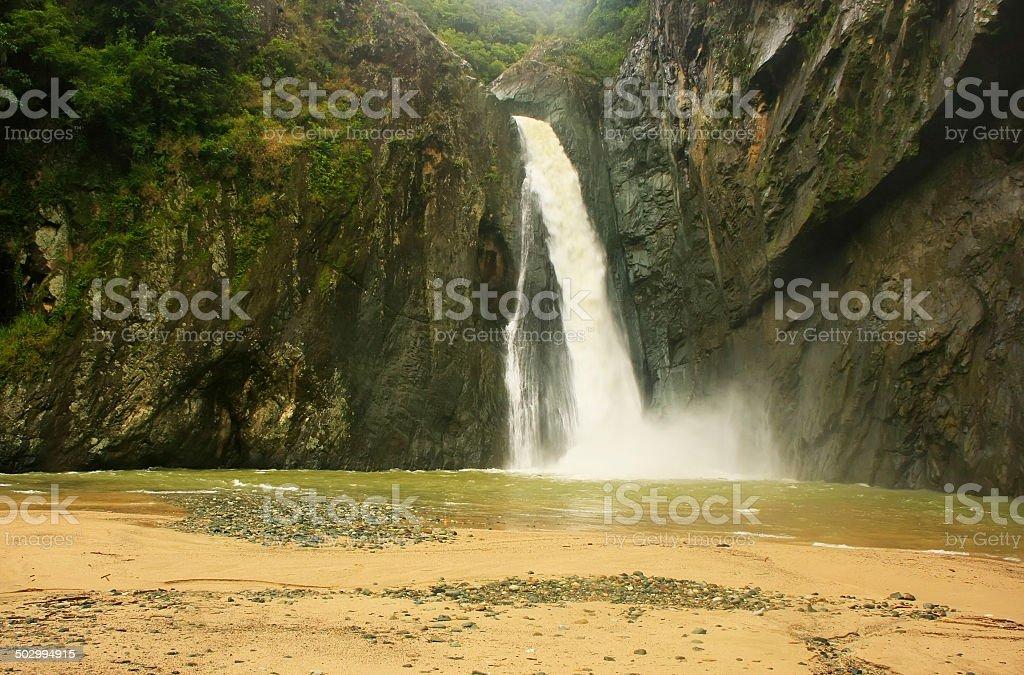 Salto Jimenoa Uno waterfall, Jarabacoa, Dominican Republic stock photo