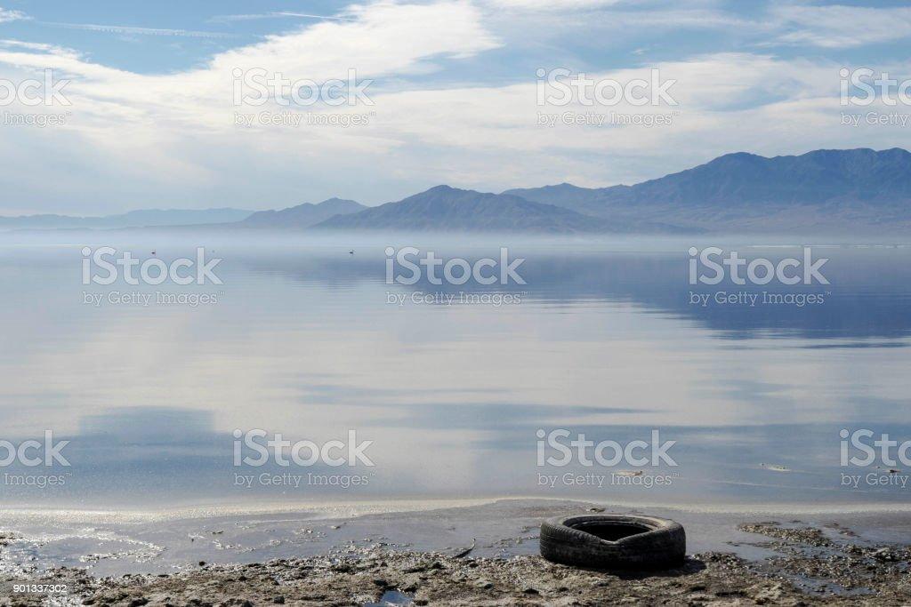 Salton Sea Reflections stock photo