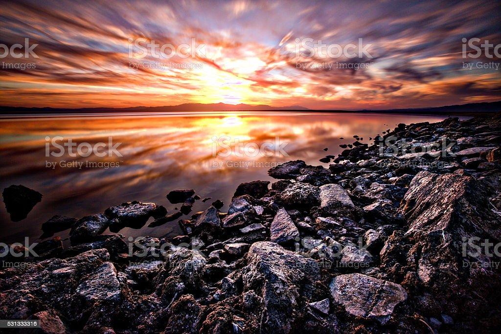 Salton Sea Sunset stock photo