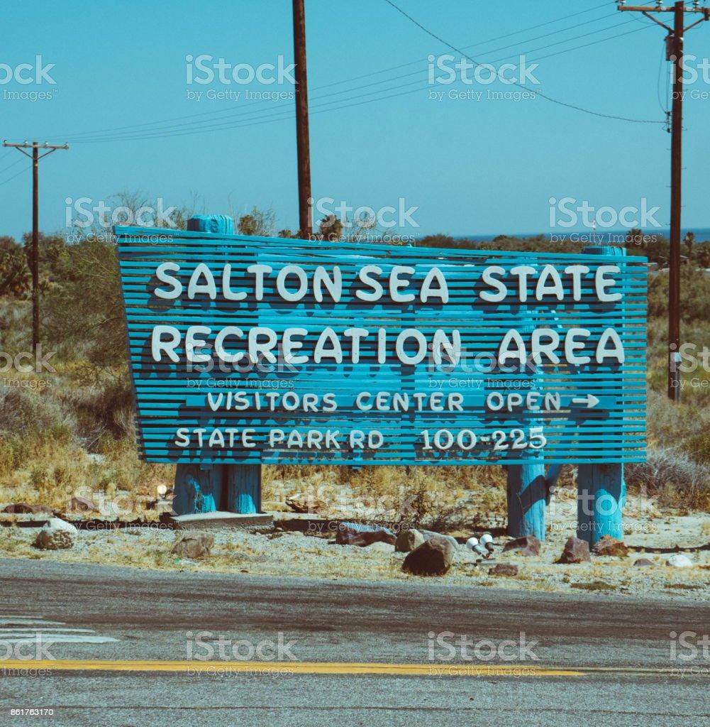 Salton Sea Welcome Sign stock photo