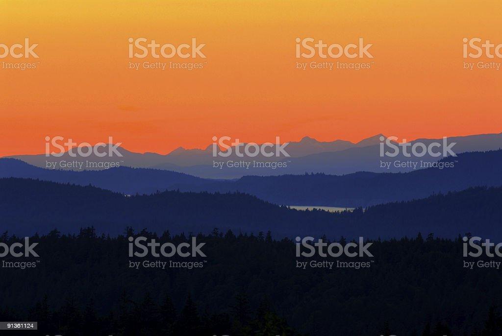 Saltspring Island sunset stock photo