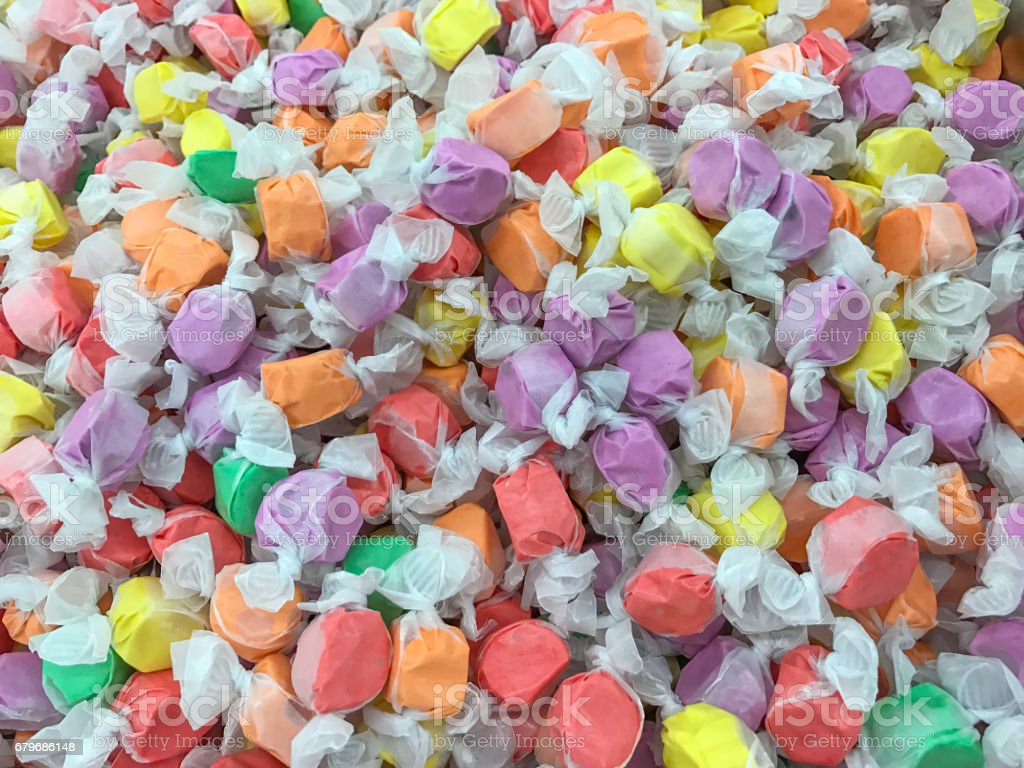 Saltwater Taffy Candy Background. stock photo