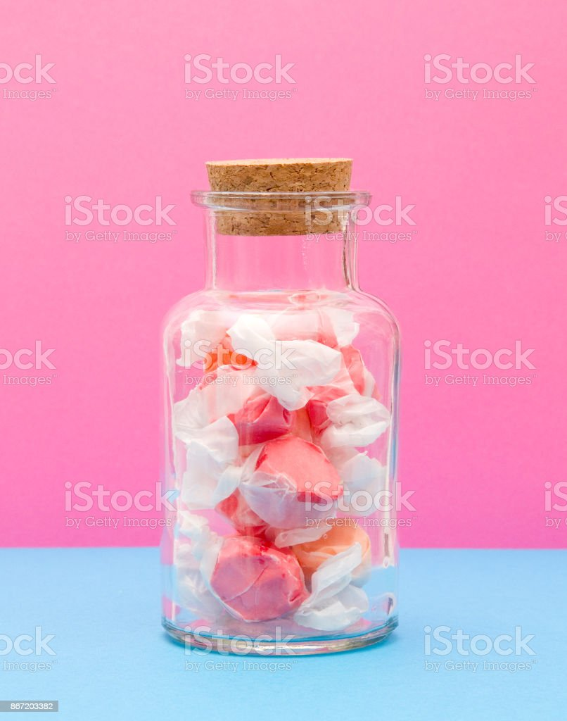 Saltwater Taffy in Corked Jar stock photo