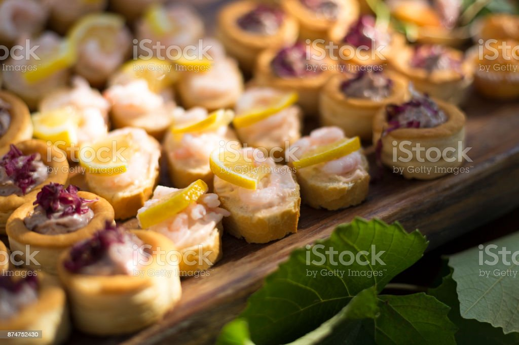 Salty appetizer table set stock photo