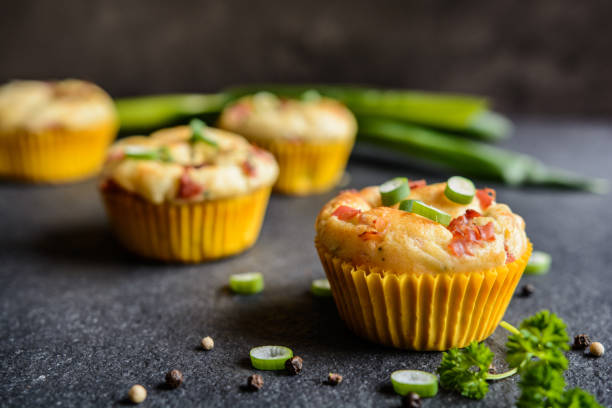 salty bacon muffins with onion - savory food stock photos and pictures