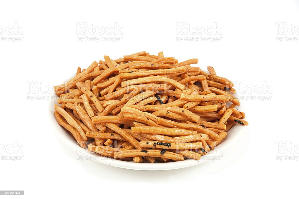 Salty baked breadsticks isolated on white. With clipping path. royalty-free stock photo