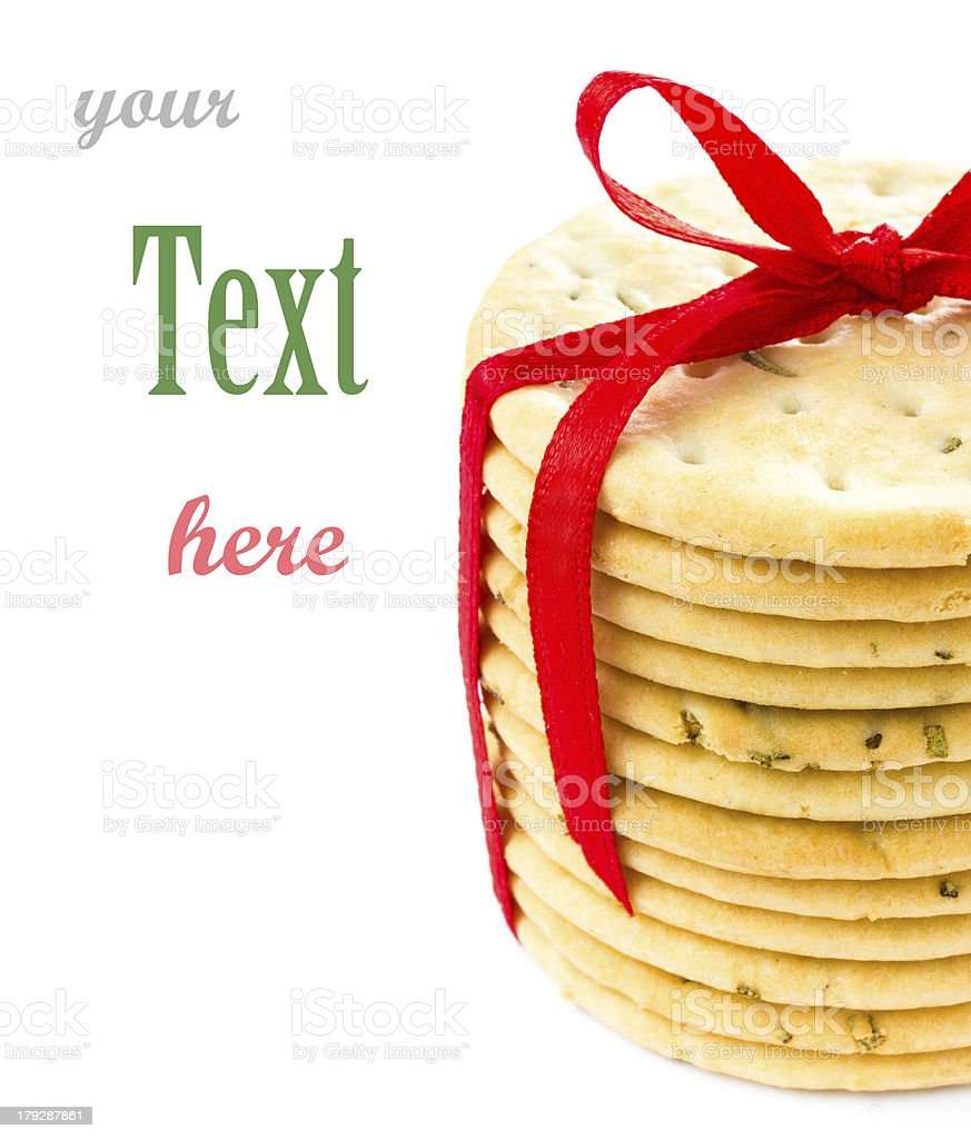 Salty cookies tied with red ribbon isolated on white background royalty-free stock photo