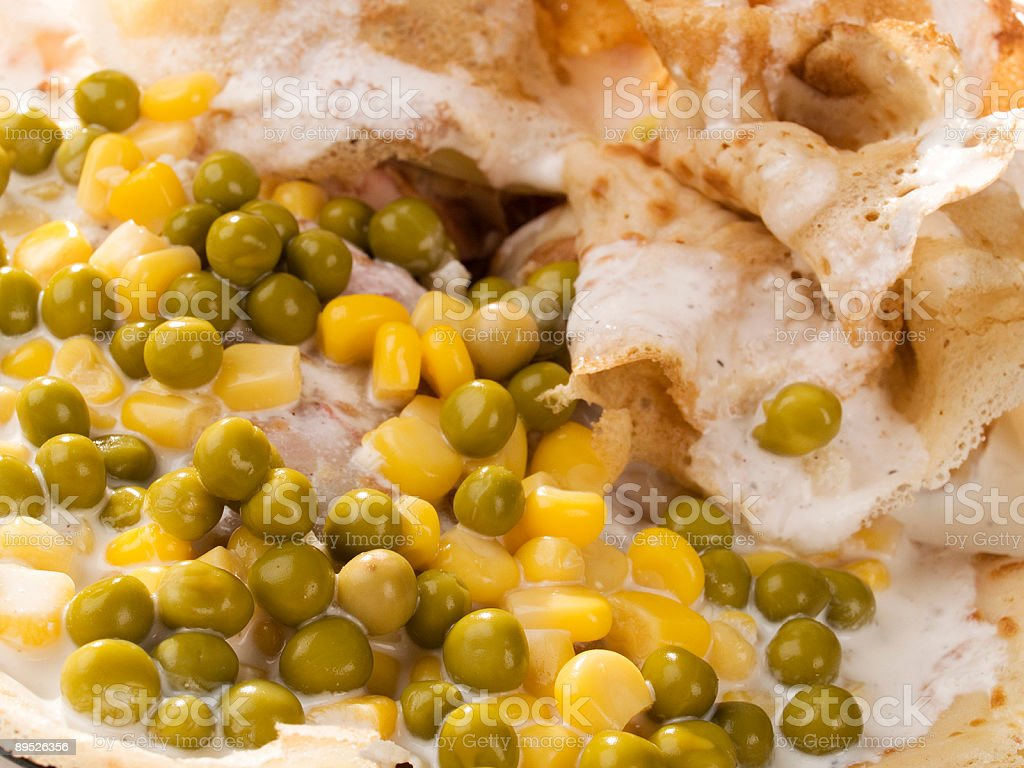 Salty Pancakes with Peas and Corn royalty-free stock photo