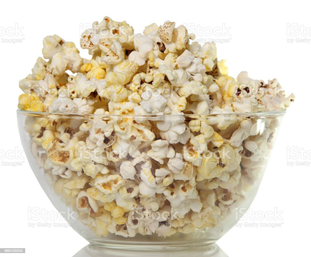 salty popcorn on a white background. trip to the cinema foto de stock royalty-free