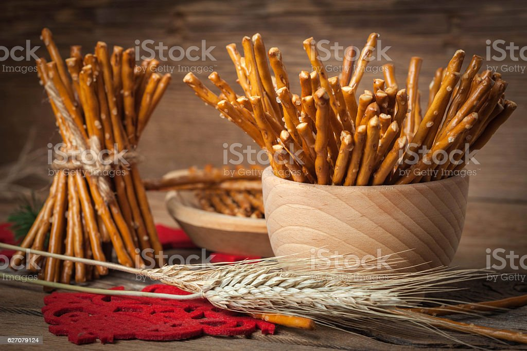 Salty pretzel sticks. stock photo