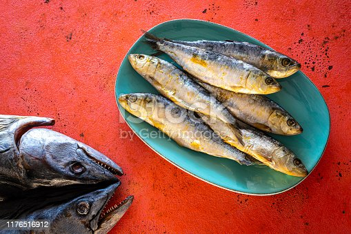 Salty salted sardines adn dried tuna in turquoise plate on coral color board raw fish