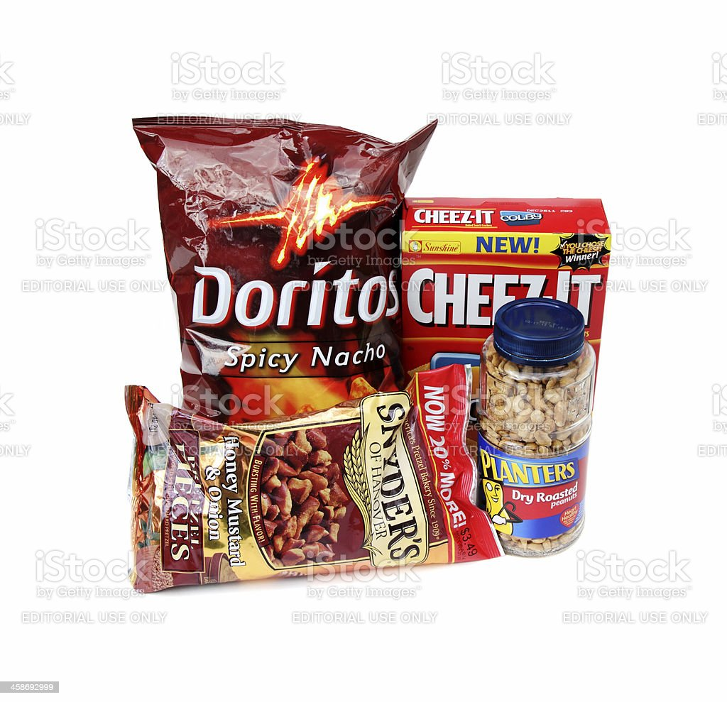 Salty snack products stock photo