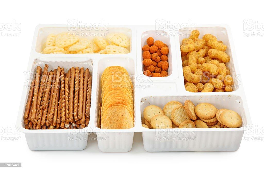 Salty snacks in box royalty-free stock photo
