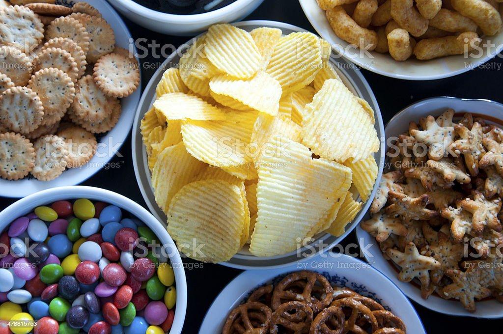 Salty snacks - 免版稅不健康飲食圖庫照片