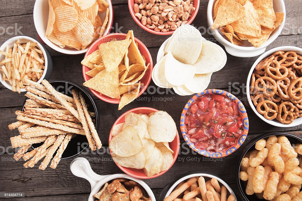 Salty snacks stock photo