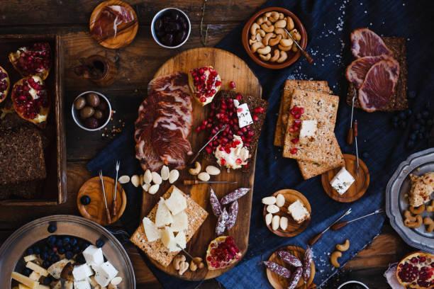 Salumeria spanish lomo ham and cheese stock photo