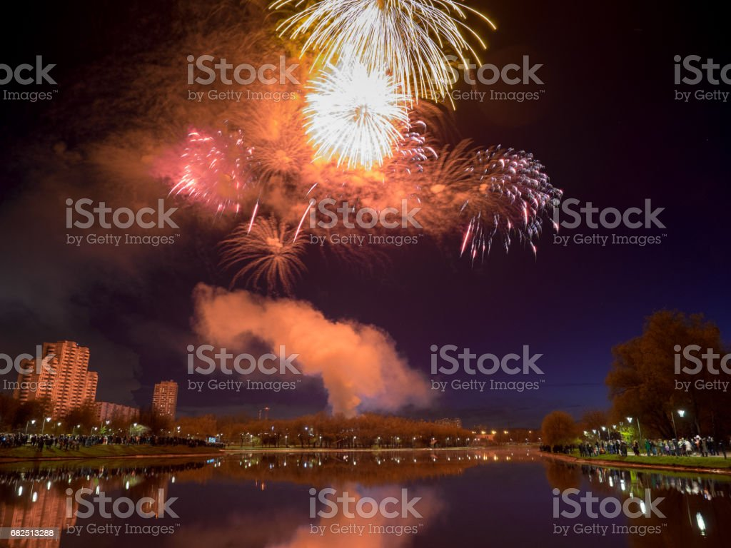 Salute above the water in the city royalty-free stock photo