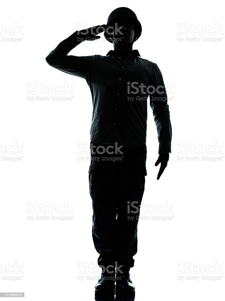 Salute from army solider for the troops stock photo