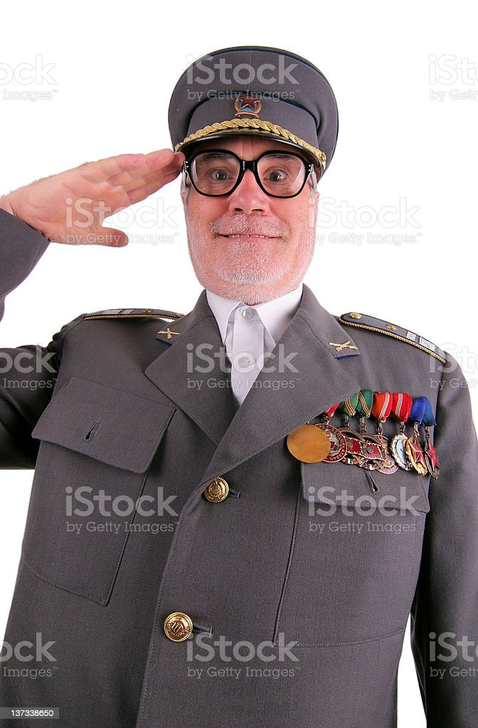 Saluted soldier stock photo