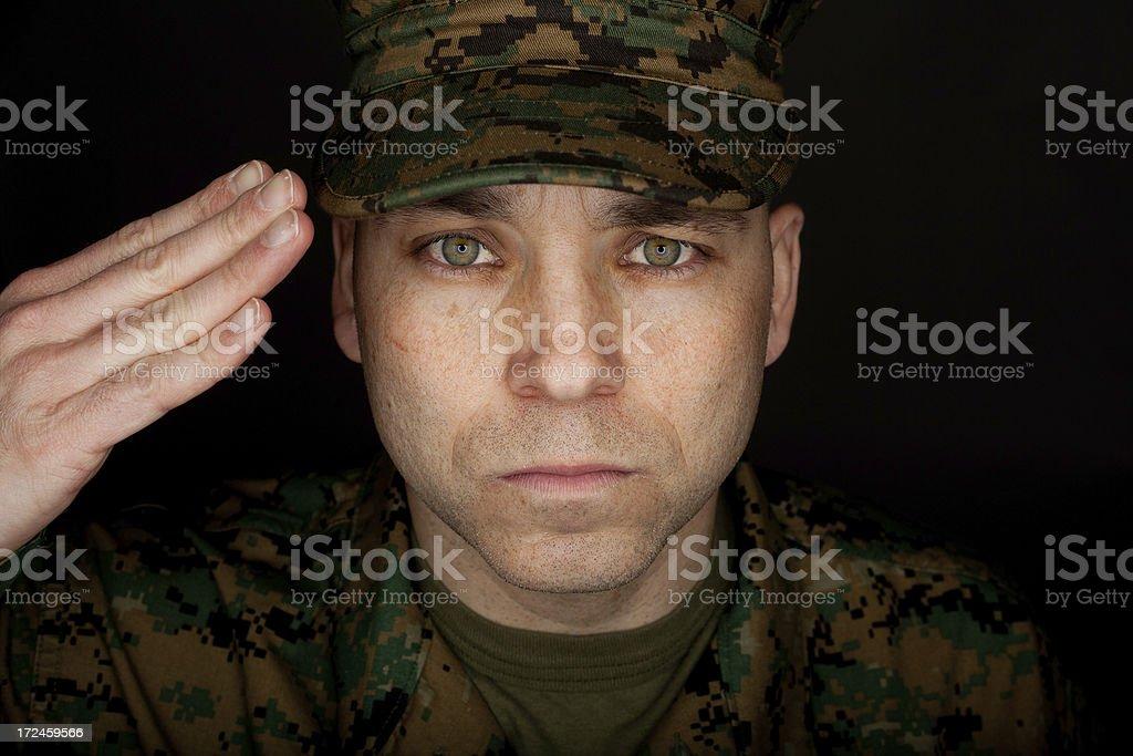 Saluting Marine Headshot royalty-free stock photo
