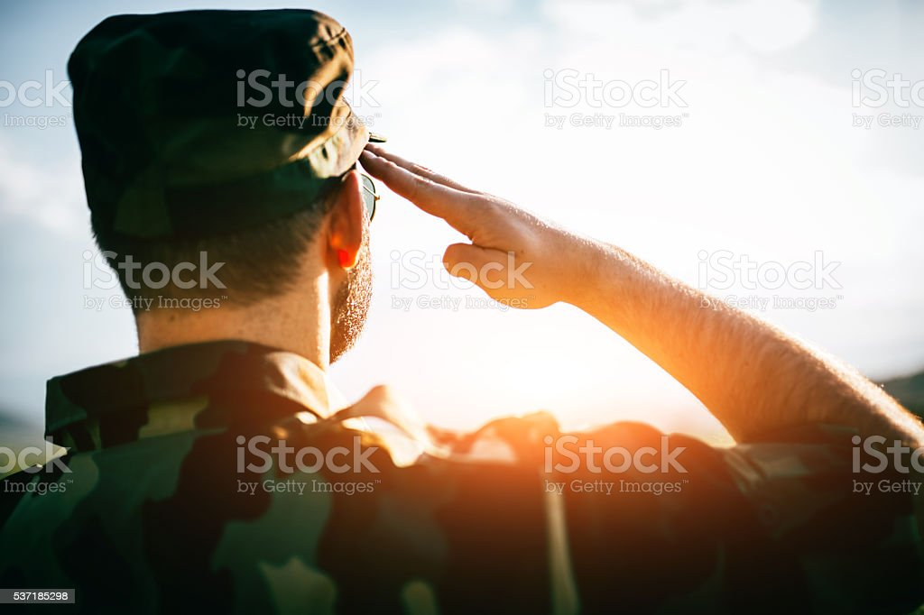 Saluting stock photo