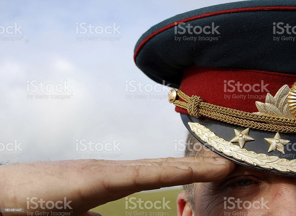 Saluting Soldier. stock photo