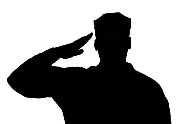 saluting soldier silhouette on white background isolated - tropa imagens e fotografias de stock