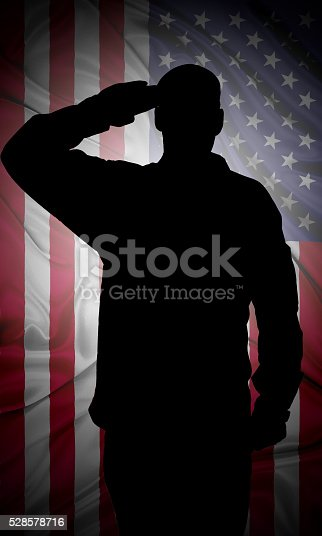 istock Saluting to USA flag 528578716