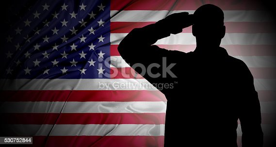 istock Saluting to USA flag 530752844