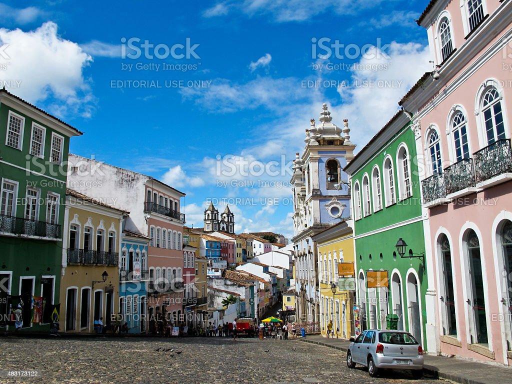 Salvador Brazil Pelourinho's Street, em um dia ensolarado de verão foto royalty-free