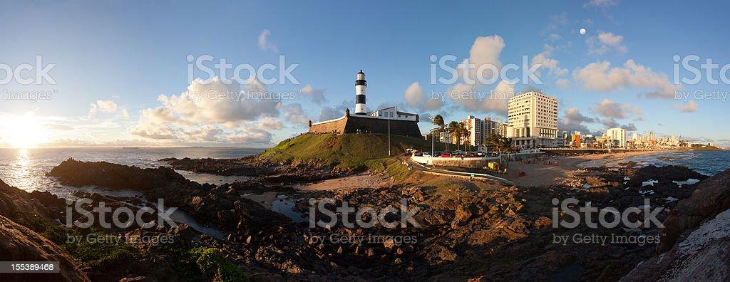 Salvador City, Bahia, Brazil 14000 pixels panorama of Farol da Barra (Barra Lighthouse) area in Salvador.  Bahia. Brazil. Bahia State Stock Photo