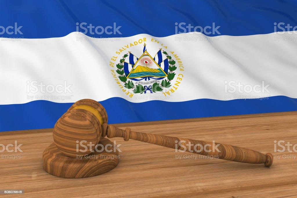 Concepto de Derecho salvadoreño - bandera del Salvador detrás martillo foto Ilustración 3D del juez - foto de stock