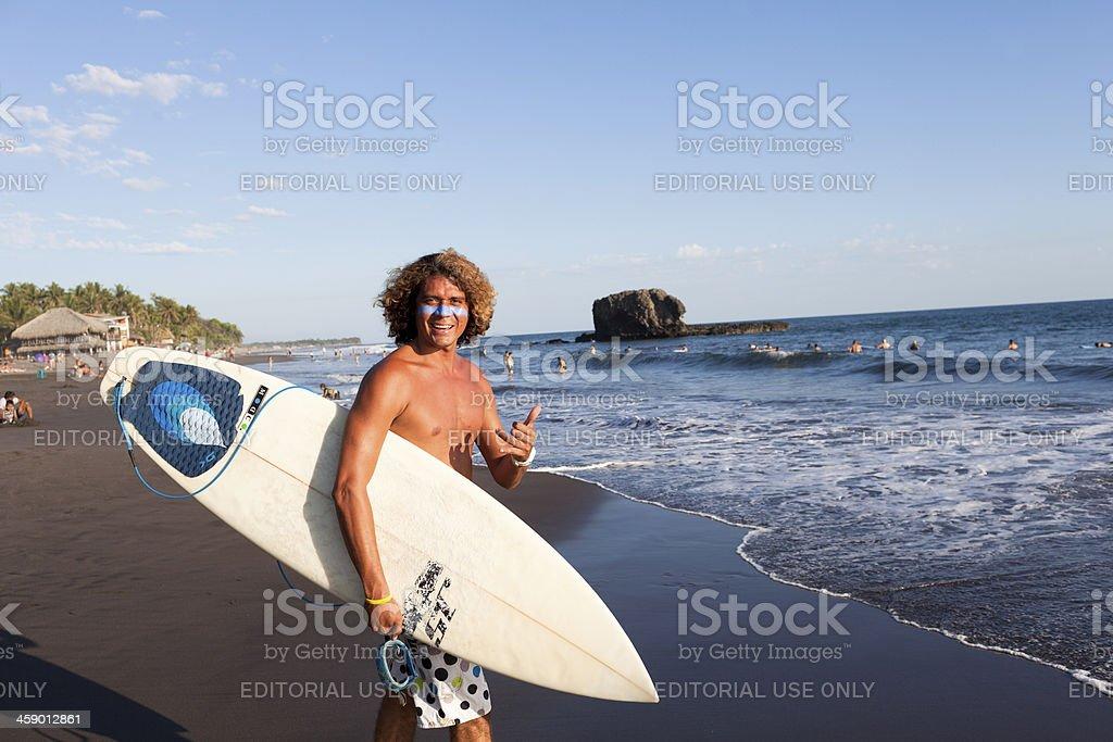 Salvadorian Surfer Man stock photo