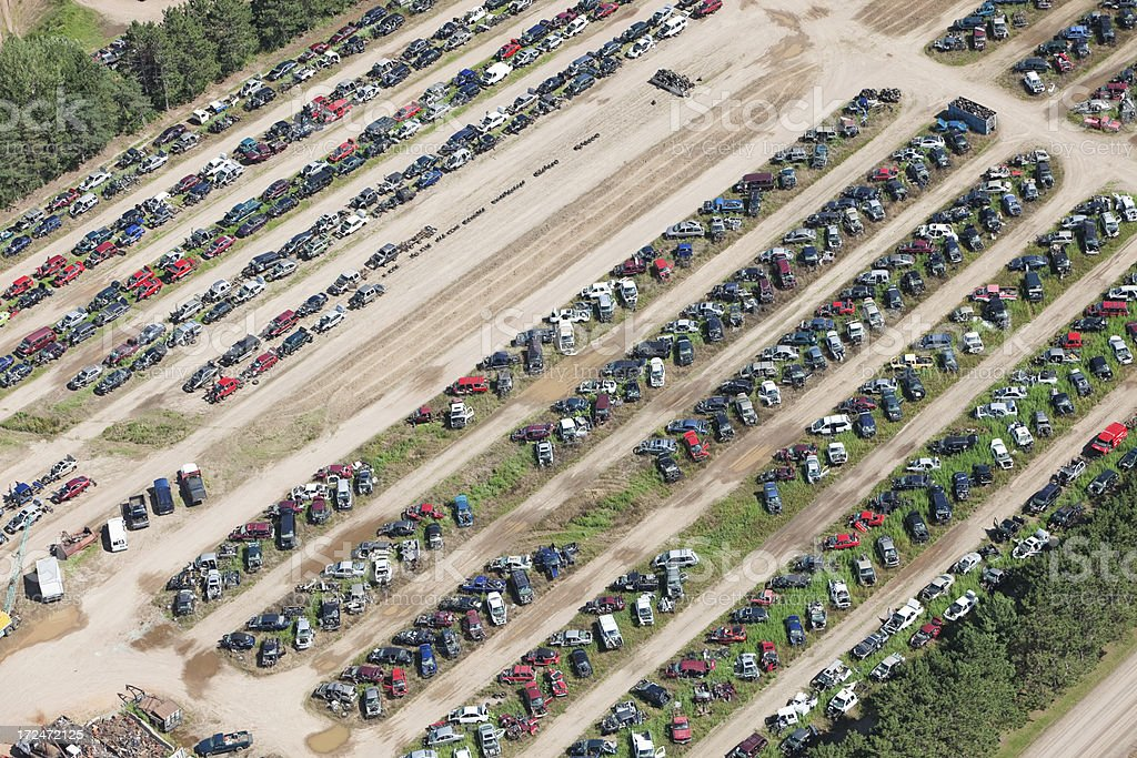 Salvage Yard Aerial with Scrap Cars, Trucks and Vans stock photo
