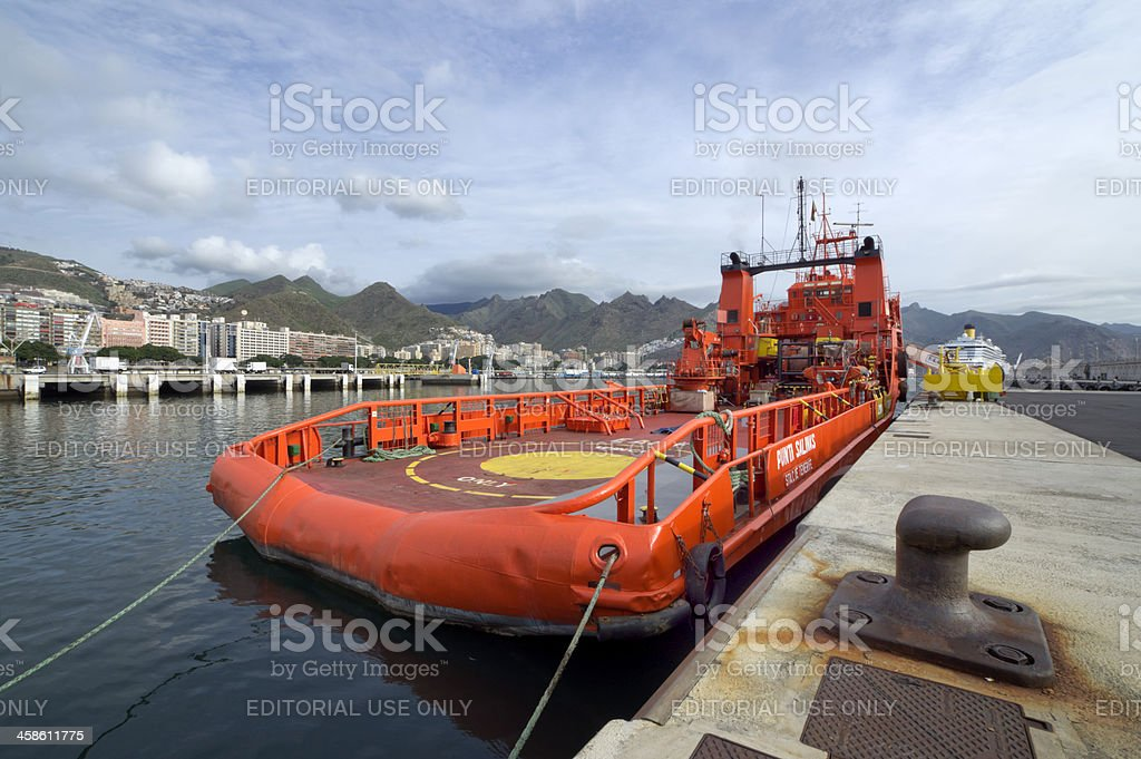 Salvamento Maritimo in Santa Cruz de Tenerife dock royalty-free stock photo