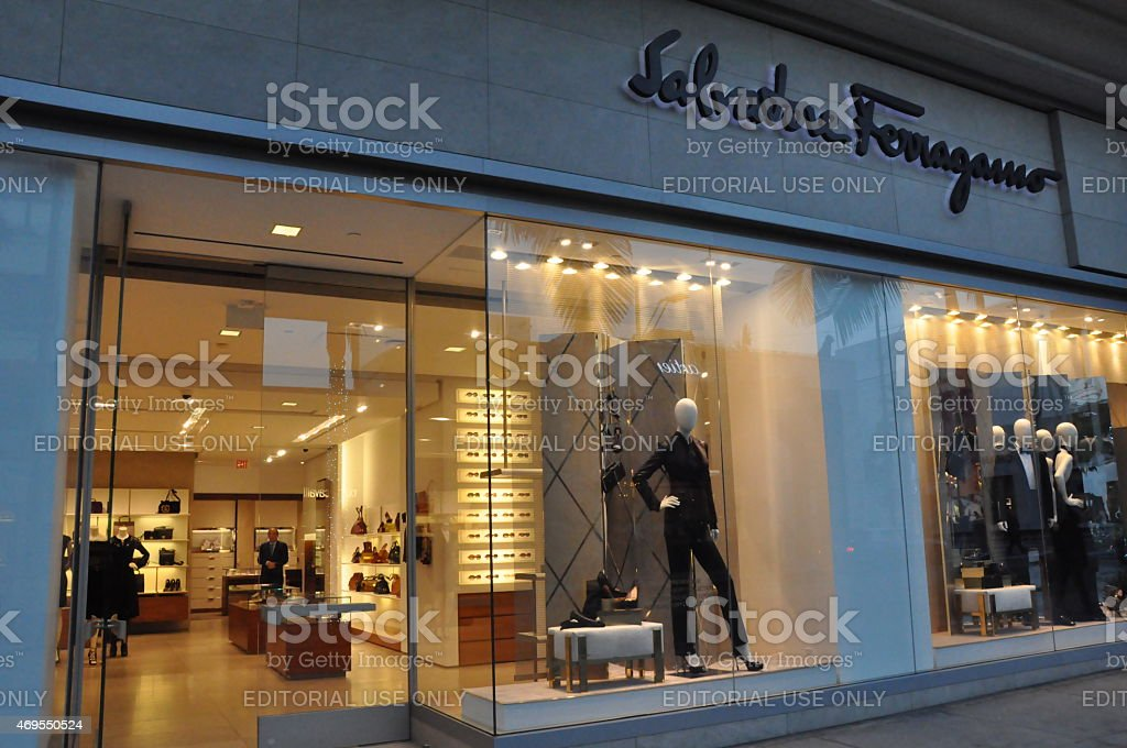 Salvatore Ferragamo store at Rodeo Drive in Beverly Hills, California stock photo
