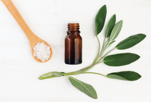 istock Salvia officinalis essential oil and sea salt for natural skincare 868546638