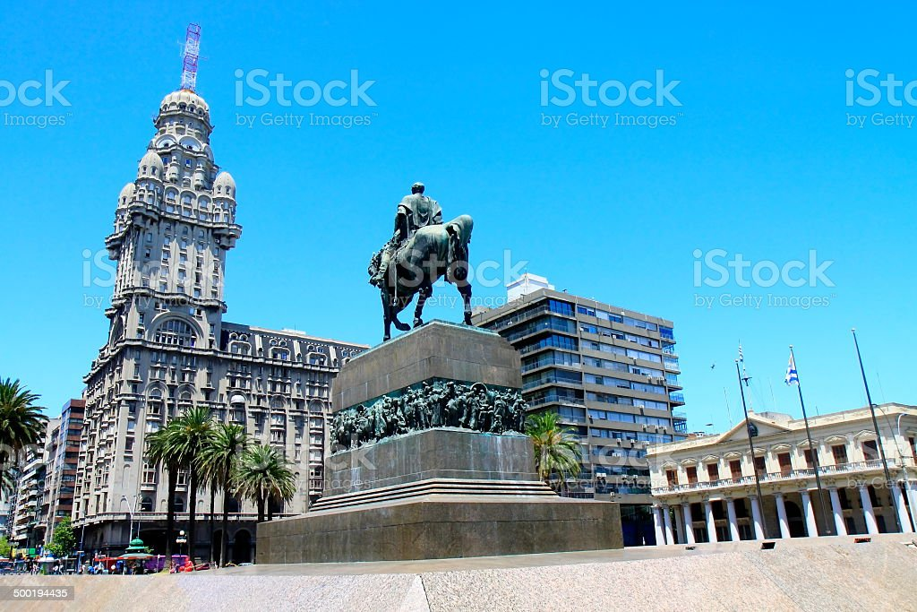 Salvo building and Artigas Independence Square - Montevideo, Uruguay stock photo