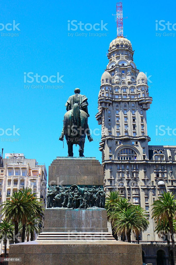 Salvo Building, Artigas and Plaza da Independencia - Montevideo, Uruguay stock photo