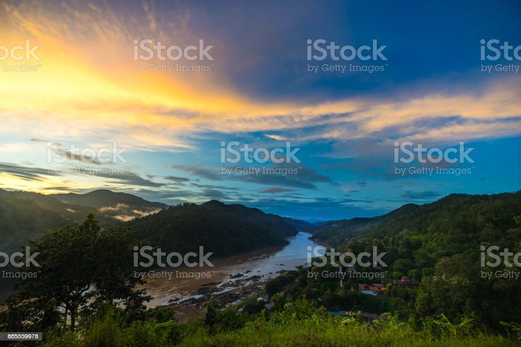 Salween river on Ban Mae Sam Laep, Sop Moei District, Mae Hong Son province between Thailand and Myanmar border in twilight. stock photo