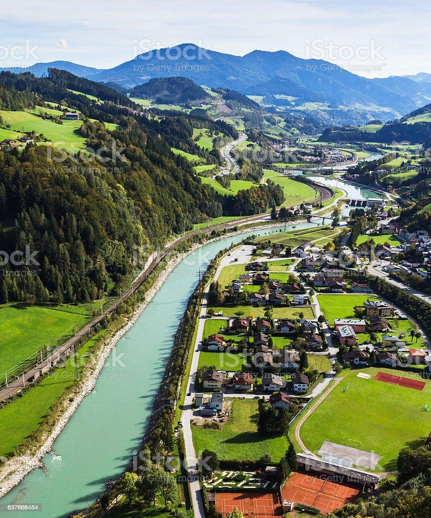 Salzach river and Werfen village stock photo