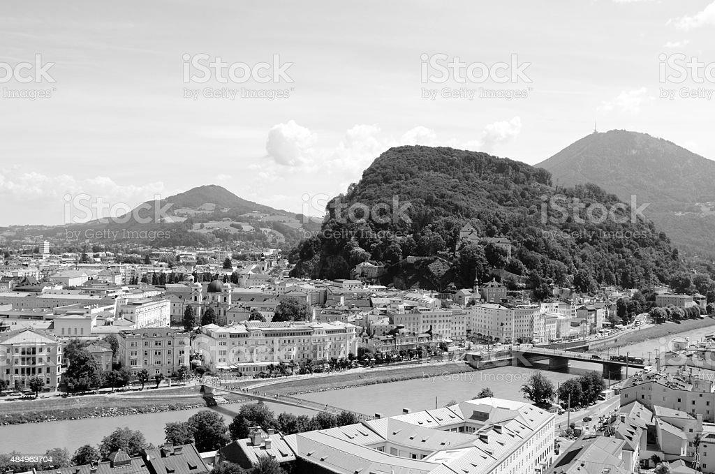 Salzach river flows through Salzburg city centre in Austria stock photo