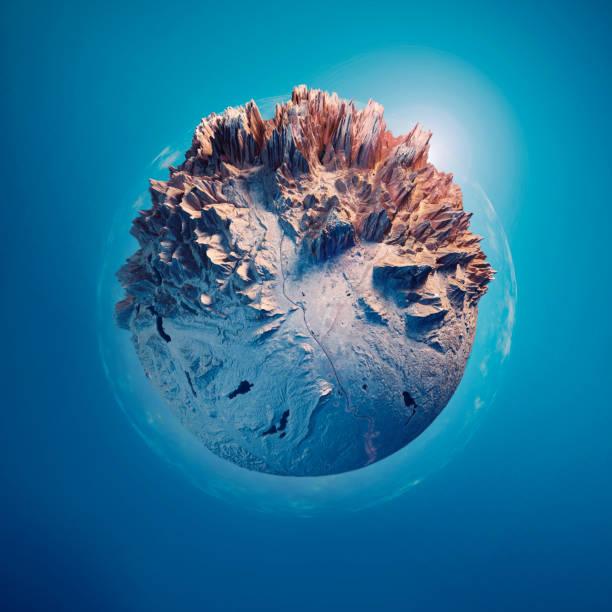 salzburg 3d küçük gezegenin küre 360 derece panorama mavi - mountain top stok fotoğraflar ve resimler