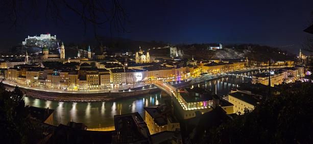 Salzburg Austria at night - architecture background