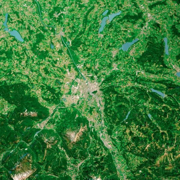 Salzburg Austria 3D Render Aerial Top View Jun 2019 – Foto