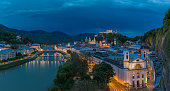 Panoramic view of Salzburg, Austria at night