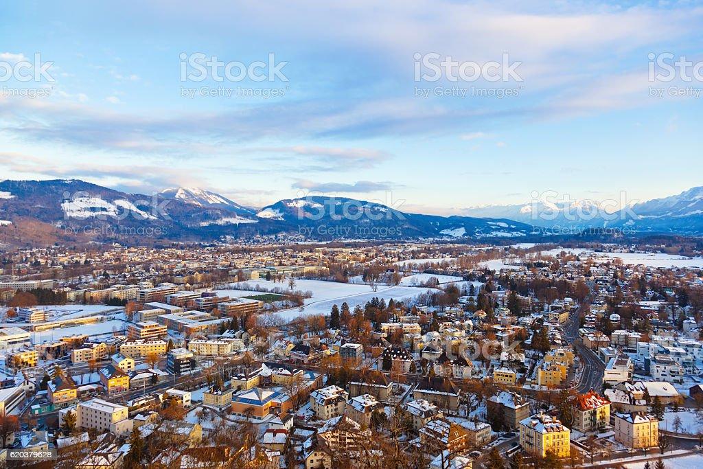Salzburg Austria o zachodzie słońca zbiór zdjęć royalty-free