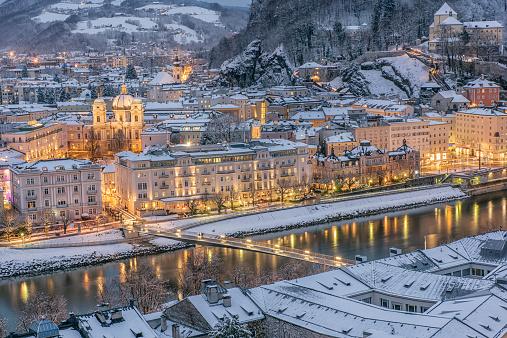 Salzburg Austria covered in Snow at Night